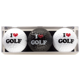 Tres bolas - motivo I Love Golf