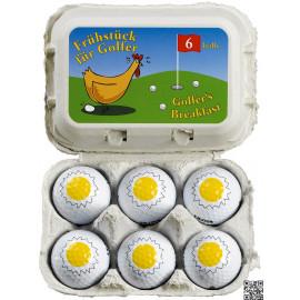Caja de cartón con 6 huevos bolas