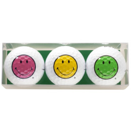 Pack de tres bolas de golf - motivo Smiley